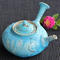 So Yamada, blue teapot 220ml, pottery kyusu, direct shipping from Japan