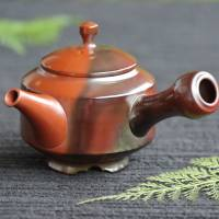 Setsudo, Tokonameyaki yohen shudei teapot 180ml,  with inro-lid hand-made tea strainer and legs