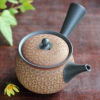 Teruyuki Isobe, round type red inka stamp pattern teapot 310ml, green tea kyusu, Tokonameware