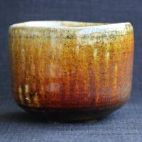 Takeshi Shimizu, salt glaze over iron glaze matchawan, matcha bowl, chawan, teaceremony pottery