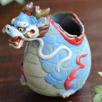 Iyo Ohgami, blue dragon cup 110ml, Tanbayaki pottery cup, small cup, sake cup, tea cup,guinomi