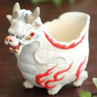 Iyo Ohgami, white dragon cup 100ml, Japanese Tanbayaki pottery cup, small cup, sake cup, tea cup