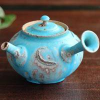 So Yamada, blue teapot side-handle type 180ml, wood-fired pottery, Tokonameyaki sencha kyusu