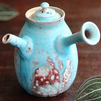 So Yamada, blue teapot tall type 160ml, Tokonameyaki wood-fired sencha gyokurocha kyusu