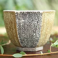 Takeshi Shimizu, groove pattern silver glaze mentori pottery cup, small cup 70ml, Japanese Tanbayaki