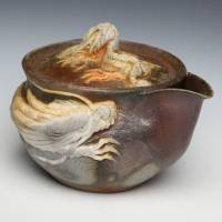 Teruhiko Omori, Japanese Bizenyaki double white dragon houhin, wood-fired pottery teaware, gaiwan