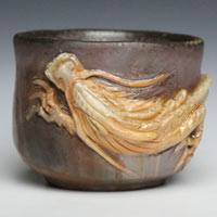 Teruhiko Omori, Japanese Bizenyaki white dragon pottery cup, non-glazed wood-fired cup, guinomi