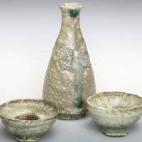 Koichi Ohara, haiyu sakeware set, sake pitcher and sake cup set, Japanese tokkuri and guinomi