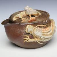 Japanese Bizenyaki double white dragon houhin, Teruhiko Omori, wood-fired pottery kyusu teapot