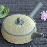 Teruyuki Isobe, green inka stamp pattern extra flat teapot 190ml, easy to spread tea leaves, kyusu