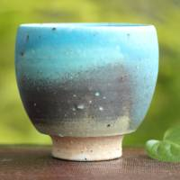 "So Yamada, ""blue"" yunomi cup small size, sencha wan, green tea cup, Tokonameyaki teacup"