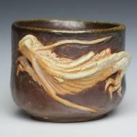 Teruhiko Omori, white dragon pottery cup, non-glazed wood-fired cup, guinomi, Bizenware