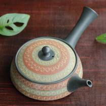 Teruyuki Isobe, Tokonameyaki red and green inka stamp pattern extra flat kyusu 240ml, Tokonameware
