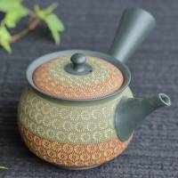 Teruyuki Isobe, round green-red inka stamp pattern teapot 310ml, Tokonameware kyusu