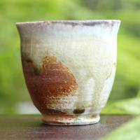 Manabu Minamide, Japanese Igaware small yunomi cup, wood-fired pottery tea cup 100ml