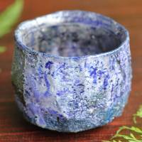 Nobuhito Nakaoka, colored ash glazed cooled youhen cup 120ml, Tanbaware pottery cup, guinomi