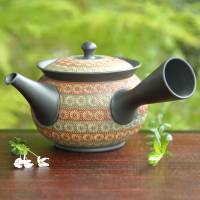Teruyuki Isobe, round type green-red inka stamp teapot 290ml, sencha greent tea kyusu