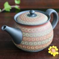 Teruyuki Isobe, back handle type two color inka stamp teapot 390ml, Tokonameware sencha kyusu