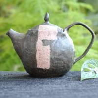 Emi Masuda, tebineri made pink stripe teapot 420ml, pure hand made pottery kyusu
