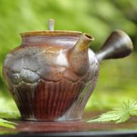 Hiromi Yamamoto, partially silver youhen, nonglazed wood-fired kyusu with carving 240ml, Bankoyaki