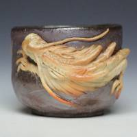 Teruhiko Omori, bizen white dragon cup, non-glazed wood-fired pottery cup 90ml, guinomi