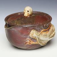 Teruhiko Omori, skull and dragon houhin, non-glazed wood-fired pottery kyusu, Bizenyaki teapot