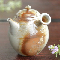 Yohei Konishi, anagama wood-fired kyusu 220ml,  inro-lid Tokonayaki sencha teapot, wood box