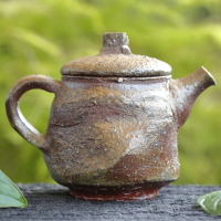 Sho Fujita, Bizenyaki goma yohen kyusu back handle type 190ml, non-glazed wood-fired sencha teapot