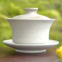 Jinshu, Seiji Itoh, white gaiwan with oyster shell powder pattern 130ml, Chinese style tea server