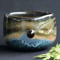 Takashi Baba, Bizen yohen ao(blue) chawan, matchawan, matcha bowl for tea ceremony